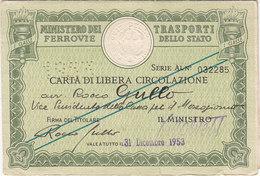 FERROVIE DELLO STATO / CARTA DI LIBERA CIRCOLAZIONE _ PERFIN 1953 - Europa