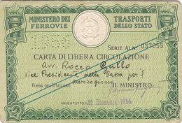 FERROVIE DELLO STATO / CARTA DI LIBERA CIRCOLAZIONE _ PERFIN 1956 - Europa