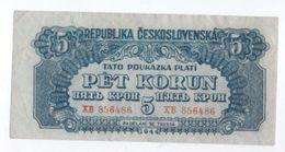 Billet / Tchécoslovaquie/ Republika Ceskoslovenska/ Pet Korun /1944                        BILL167 - Cecoslovacchia