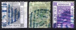HONG-KONG, Yv 9, 15, 17, Used, Ave/Fine, Cat. € 34,00 - Used Stamps