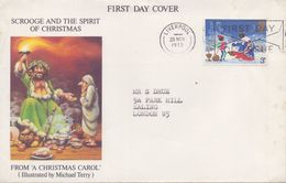 GREAT-BRITAIN :1970: Y.704 On Travelled FDC : CHRISTMAS,CHRITMAS CAROL, - 1971-1980 Em. Décimales