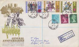 GREAT-BRITAIN :1971: Y.642-44 On REGISTERED FDC : ## ANNIVERSARIES ##:  The BRITISH LEGION,YORK,RUGBY, - 1971-1980 Em. Décimales