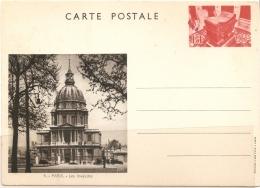 France, Postcard 1935 90 C Type Vues De Paris, Showing Tomb Of Napoleon & Dome Des Invalides - Postal Stamped Stationery