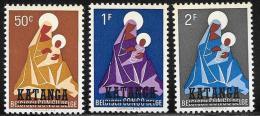 Katanga, Scott # 1-3 MNH Belgian Congo Stamps Overprinted, 1960 - Katanga