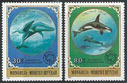 Mongolia  1980   Sc#1138 &  1143  Whales   MNH**   2016  Scott Value $4 - Mongolia