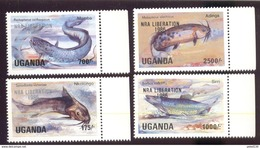 UGANDA 490-3  MINT N H   (  FISH O. PRINTED NRA LIBERATION 1985 - Uganda (1962-...)