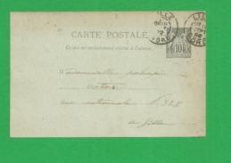 Entier Carte Sage 10 Centimes - Storia Postale
