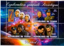 Chad 2013 Stamps Voskhod-1 Spacecraft Cosmonaut Vladimir Komarov, Konstantin Feoktistov And Boris Yegorov MS C - Africa