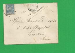 Lettre Sage 15 Centimes Obl Ambulant - Storia Postale