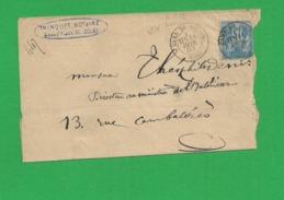 Lettre Sage 15 Centimes Obl Gare De Douai - Storia Postale