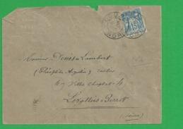 Lettre Sage 15 Centimes Obl Douai - Storia Postale