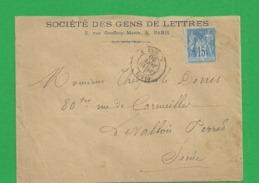 Lettre Sage 15 Centimes Obl Paris - Storia Postale