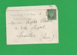 Lettre Sage 5 Centimes Obl Lettre Conseil Generale De La Seine Cabinet Du President - Storia Postale