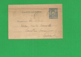 Carte Lettre Sage 15 Centimes Obl St Valers 1886 Lie Horizontable - Storia Postale