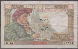 Billet 50 Francs Jacques Coeur/ Alpha B.175 / Recherché - 1871-1952 Anciens Francs Circulés Au XXème