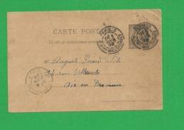 Carte Postale Entier Sage 10 Centimes Obl Paris - Storia Postale
