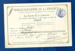 1897  Bibliographie De La France Abonnement 1 An Sceau Timbre 10ct Mme Desbois Bordeaux    Dossier Factures 9 - 1900 – 1949