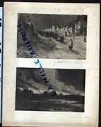 HUYGENS , HELIOGRAVURES, Enterremnt àYpres Et Incendie à Nieuport , Militaria - Dessins
