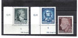 DDR170 DDR 1955  MICHL  464/66  Zwei Marken Mit Drucvermerk ** Postfrisch ZÄHNUNG Siehe ABBILDUNG - DDR