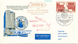 Germany Flight Cover Airship D-Lisa Und Flight Bonn - Chicago 26-5-1967 (see Stamps) - [7] République Fédérale