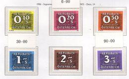 PIA - AUSTRIA -1986 : Segnatasse  - (Yv  255-60) - Impuestos