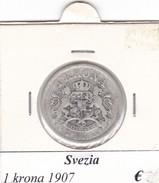 SVEZIA   1  KRONA  ANNO 1907  COME DA FOTO - Svezia