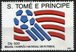 SAO TOME AND PRINCIPE,1994, BRAZIL, WORLD FOOTBALL CHAMPION, R#1087; YV#1230, MNH - World Cup