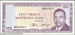 TWN - BURUNDI 29c3 - 100 Francs 1.5.1993 Prefix DW UNC - Burundi