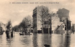 92 BOULOGNE INONDE JANVIER 1910 ROND POINT ( GRANDE RUE ) ANIMEE CREMERIE DU ROND POINT BARQUES - Boulogne Billancourt