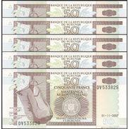 TWN - BURUNDI 36g - 50 Francs 1.11.2007 DEALERS LOT X 5 - Prefix DV UNC - Burundi