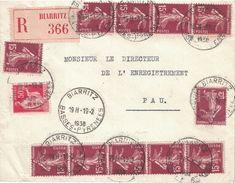BASSES-PYRENEES - BIARRITZ - BEL AFFRANCHISSEMENT SEMEUSE ET TYPE PAIX - LETTRE RECOMMANDEE DU 19-2-1938. (P1) - Handstempels
