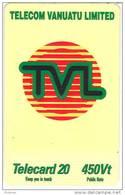 Vanuatu (Hebrides) Telecarte Phonecard  Telecard 20 Unite Telecom TVL Generique 450 Vatu, Ut. TBE - Vanuatu