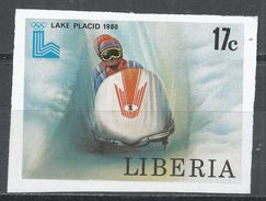 Liberia 1980. Scott #869 (MNH) Olympic Games Lake Placid, Bobsled - Liberia
