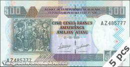 TWN - BURUNDI 45a - 500 Francs 1.5.2009 DEALERS LOT X 5 - Prefix AZ UNC - Burundi
