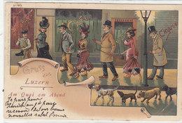 Gruss Aus Luzern - Am Quai Am Abend - Litho - 1902 - Nicht Häufig       (P-60-40316) - LU Lucerne