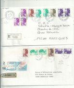 2 LR Des BdR...(13).....affranchies Avec Des Timbres LIBERTE ...........à Voir - 1982-90 Liberté De Gandon