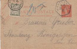 EP 138 - CP1 Obl WANTZENAU Du 25.11.20 Adressé à Strasbourg Taxé 20 Cts - Marcophilie (Lettres)