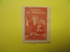Vignette  Fruits Et Primeurs Paris Exposition Internationale  1937 - Erinnophilie