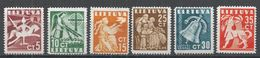 Lithuania 1940. Scott #317-22 (MNG) Kinight, Angel, Woman, Dove, Mother, Child, Bell, Mythical Animal - Lituanie