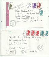 4 LR Des BdR...(13).....affranchies Avec Des Timbres LIBERTE ...........à Voir - 1982-90 Liberté De Gandon