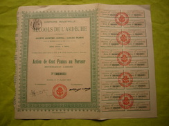 Belle Action Cie Industrielle Des Alcools De L'Ardèche 1908 Cent Francs Au Porteur - Agriculture