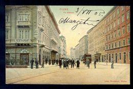 Fiume Via Adamich / Long Line Postcard Circulated, 2 Scans - Croatie