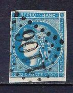 """FR YT 45A Type II Report 1 """" Cérès 20c. Bleu """" GC 1106 CONDE-S-NOIREAU - 1870 Bordeaux Printing"""