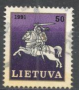 Lithuania 1991. Scott #383 (U) White Knight ''Vytis'', Chevalier - Lituanie