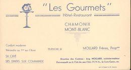 Les Gourmets   Hôtel-Restaurant - Chamonix Mont-Blanc - Mollard Frères, Propriétaires - Ancienne Carte De Visite - Cartes De Visite