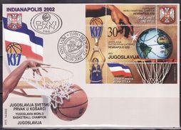 Yugoslavia, 2002, Yugoslavia World Basketball Champion - Indianapolis 2002, Block, FDC - Basket-ball