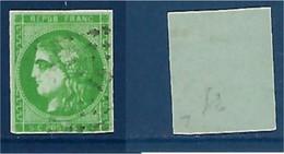 "FR YT 42B "" Cérès 5c. Vert-jaune "" Losange Ambulant IB - 1870 Bordeaux Printing"