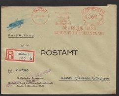 """""""Postauftrag"""", R-Brief """"Dt.  Bank"""", Breslau, 1937, Seltener Tarif Zu 62 Pfg. - Briefe U. Dokumente"""
