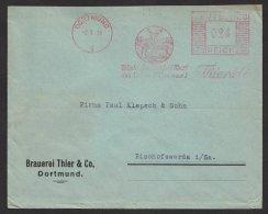 """""""Brauerei Thier & Co"""", Dortmund, Dek. Stempel Mit Hirsch Und Reh, 1936 - Briefe U. Dokumente"""