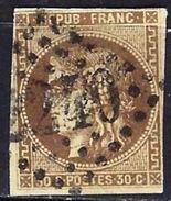 """FR YT 47 """" Cérès 30c. Brun """" GC 2240 MARSEILLE - 1870 Bordeaux Printing"""